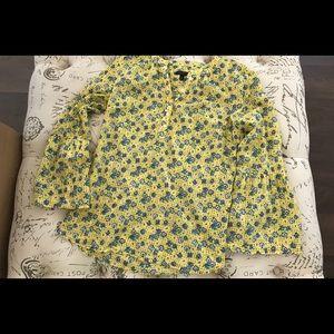 Talbots Yellow & Blue Print Cotton Blouse Sz S